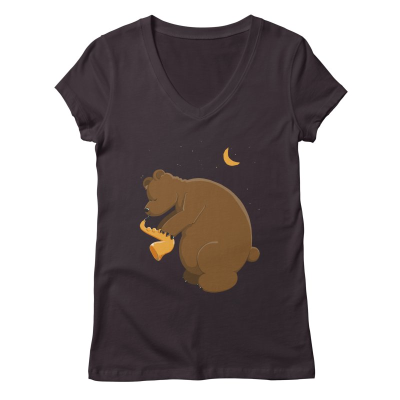 Moon over beary Saxophone Women's V-Neck by Illustrated Madness