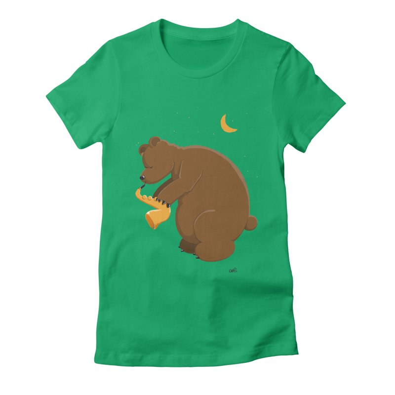 Moon over beary Saxophone Women's Fitted T-Shirt by Illustrated Madness