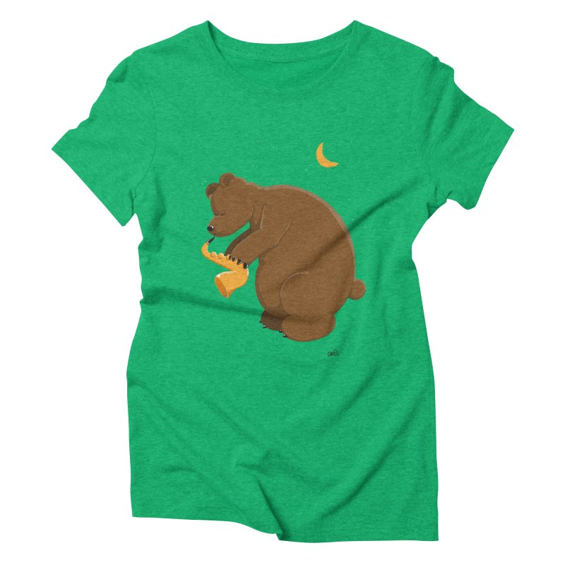 Moon over beary Saxophone Women's Triblend T-shirt by Illustrated Madness