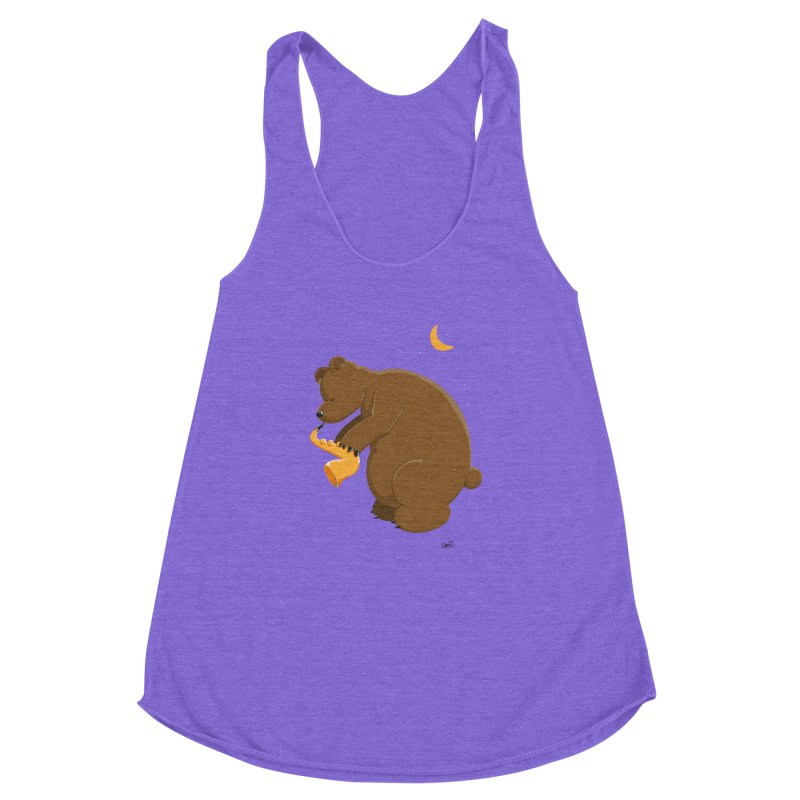Moon over beary Saxophone Women's Racerback Triblend Tank by Illustrated Madness