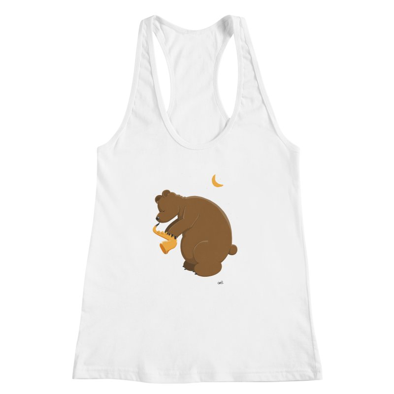 Moon over beary Saxophone Women's Racerback Tank by Illustrated Madness