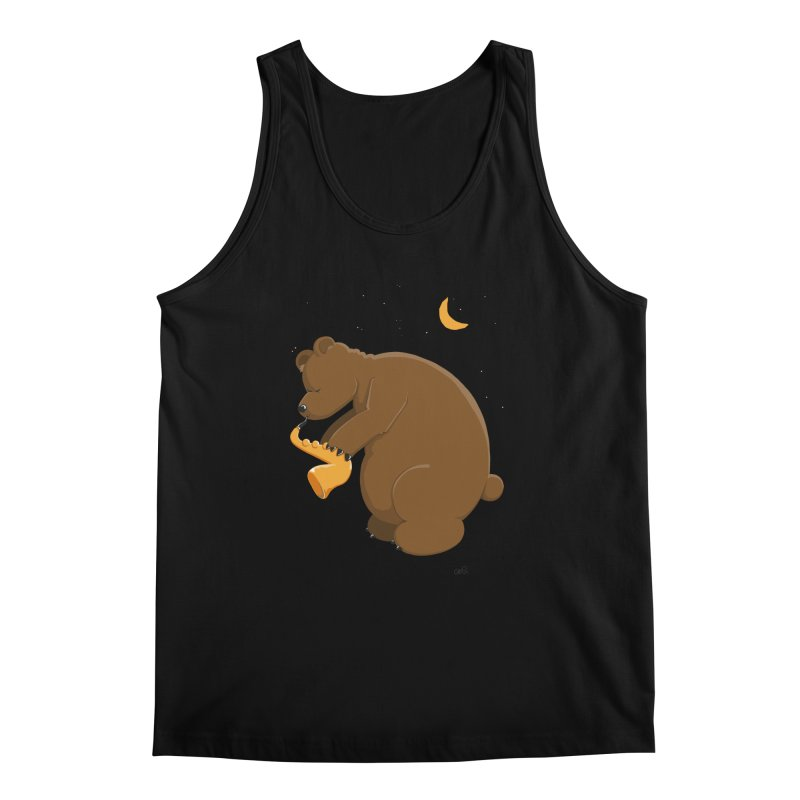 Moon over beary Saxophone Men's Tank by Illustrated Madness