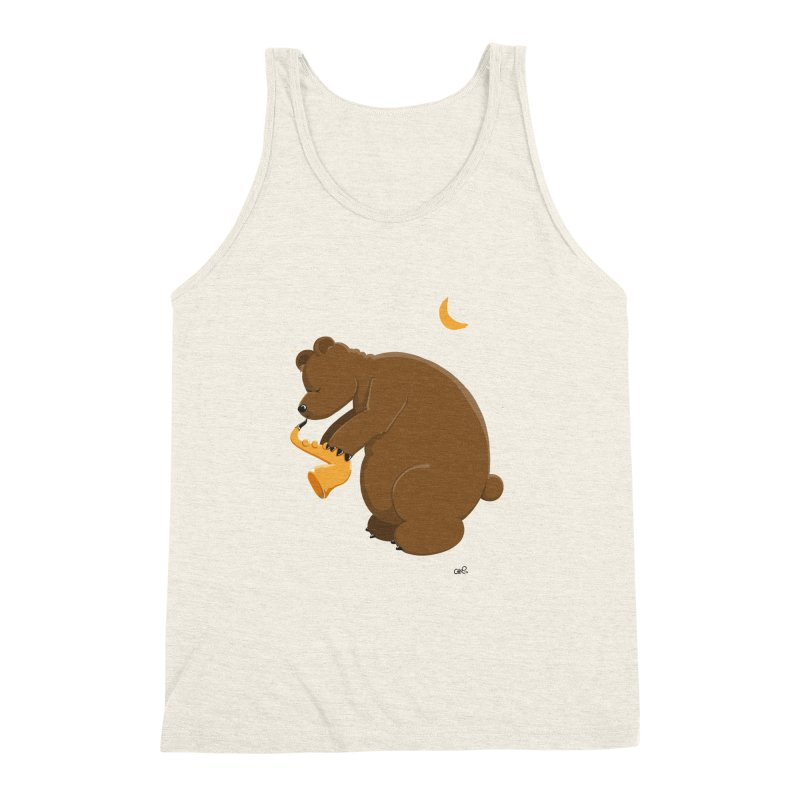 Moon over beary Saxophone Men's Triblend Tank by Illustrated Madness
