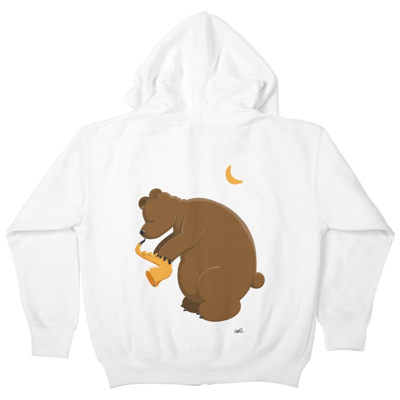 Moon over beary Saxophone Kids Zip-Up Hoody by Illustrated Madness