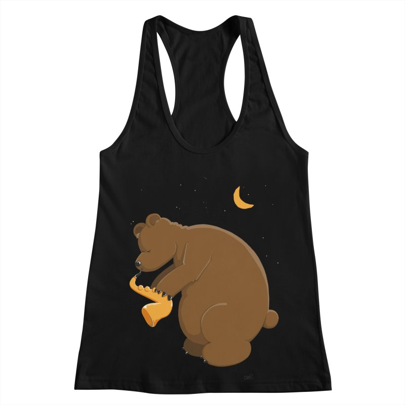 Cute Bear plays a Love Song on the Saxophone Women's Racerback Tank by Illustrated Madness