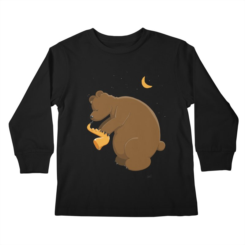 Moon over beary Saxophone Kids Longsleeve T-Shirt by Illustrated Madness