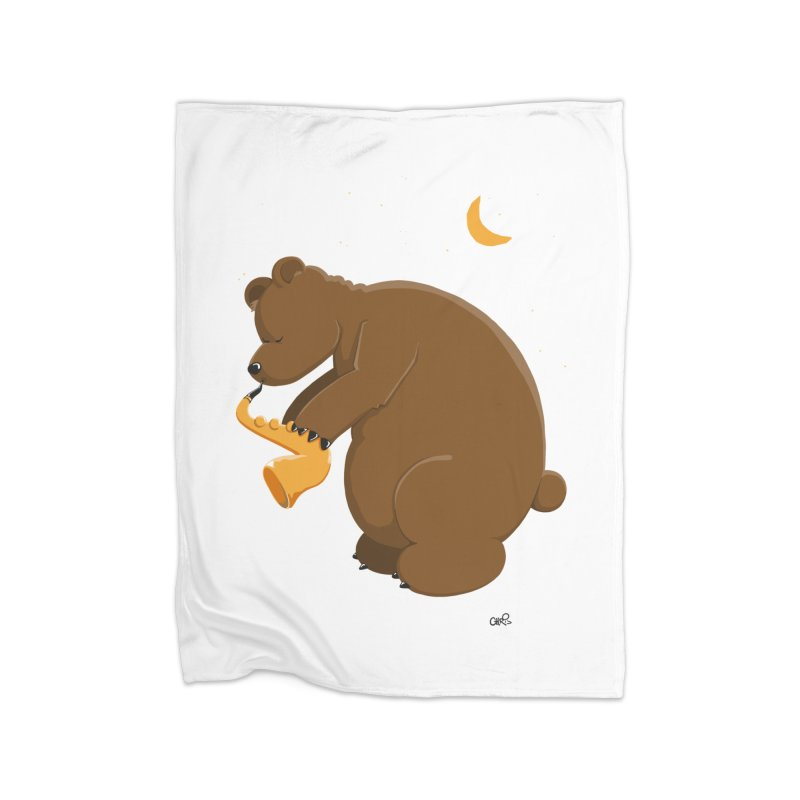 Moon over beary Saxophone Home Blanket by Illustrated Madness