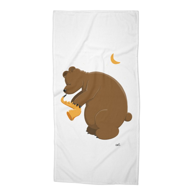 Moon over beary Saxophone Accessories Beach Towel by Illustrated Madness