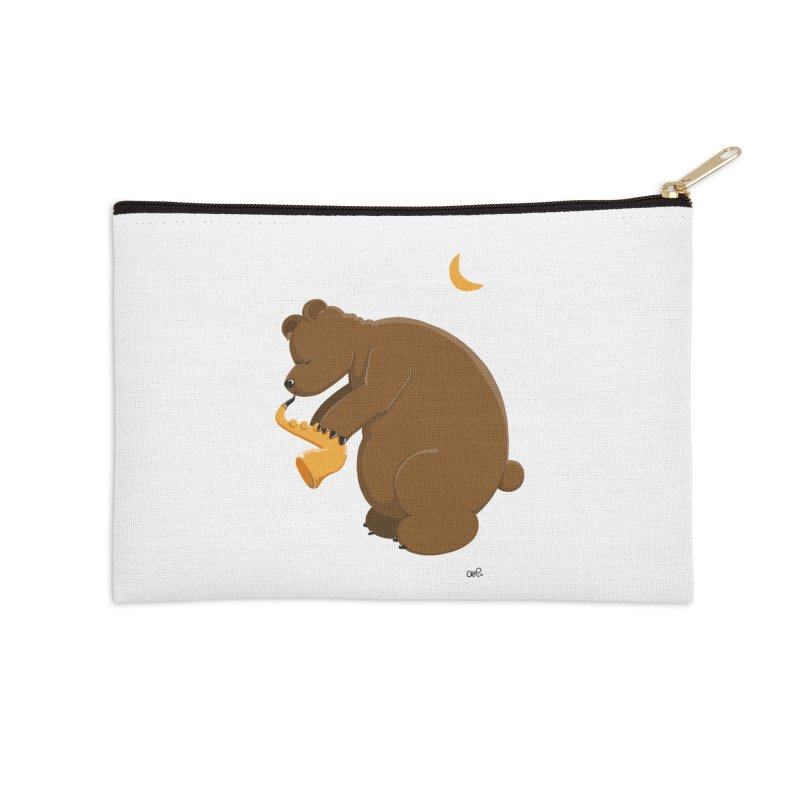 Moon over beary Saxophone Accessories Zip Pouch by Illustrated Madness