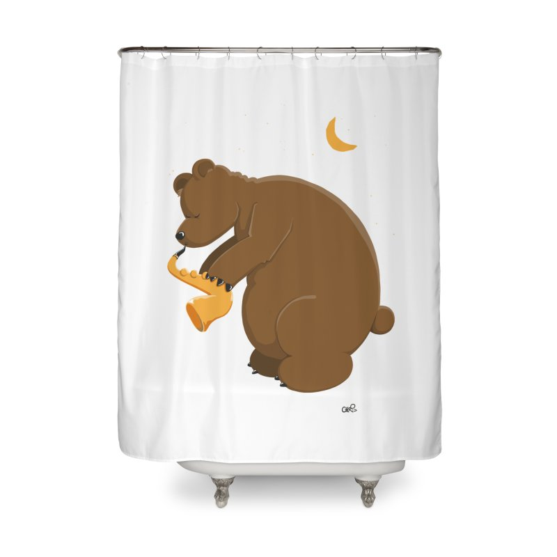 Moon over beary Saxophone Home Shower Curtain by Illustrated Madness