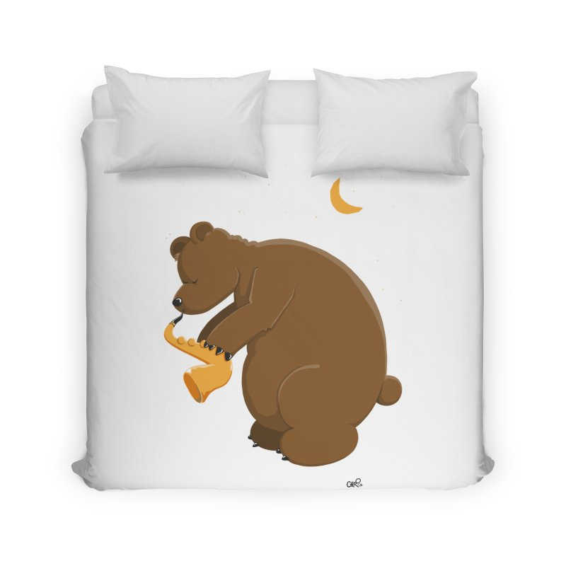 Moon over beary Saxophone Home Duvet by Illustrated Madness