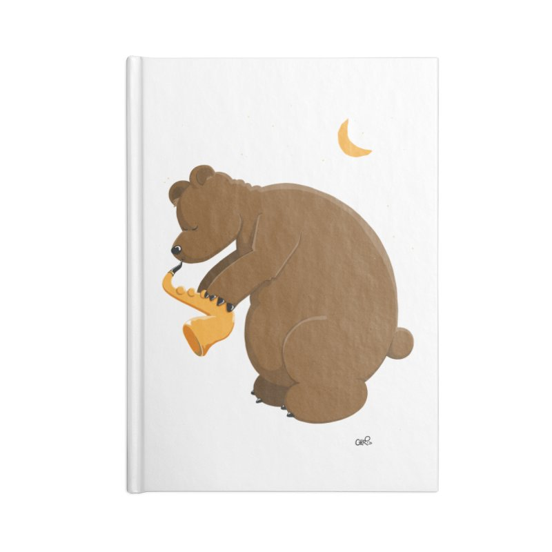 Moon over beary Saxophone Accessories Notebook by Illustrated Madness