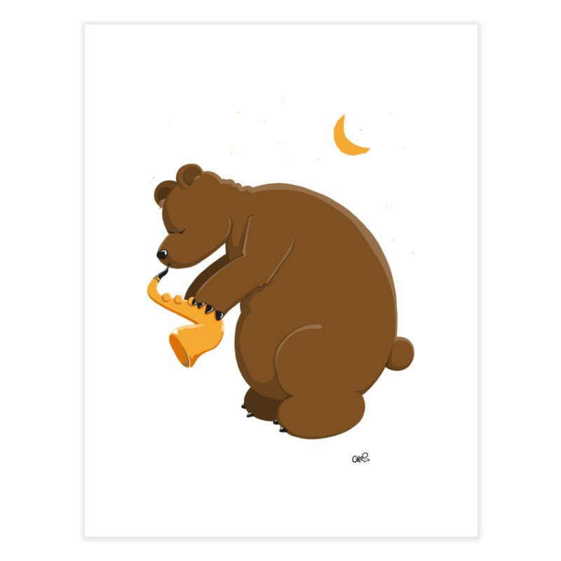Moon over beary Saxophone Home Fine Art Print by Illustrated Madness