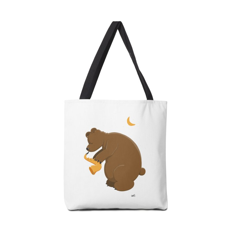 Cute Bear plays a Love Song on the Saxophone Accessories Tote Bag Bag by Illustrated Madness