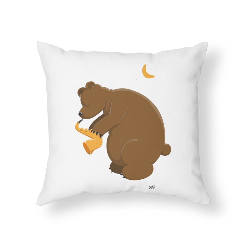 Moon over beary Saxophone Home Throw Pillow by Illustrated Madness