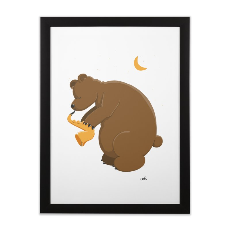 Moon over beary Saxophone Home Framed Fine Art Print by Illustrated Madness