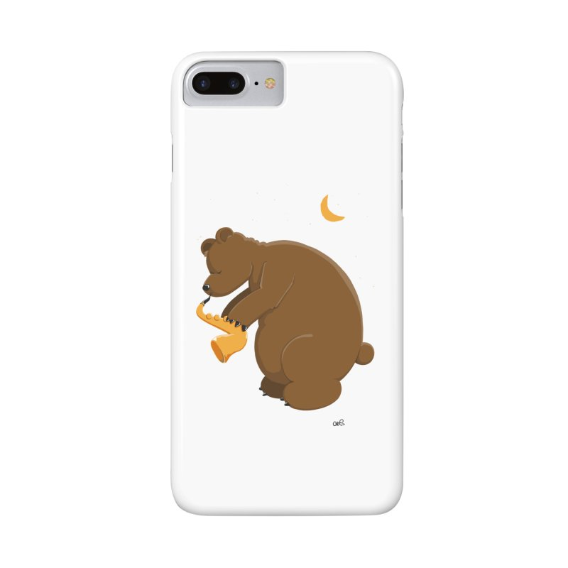 Moon over beary Saxophone Accessories Phone Case by Illustrated Madness