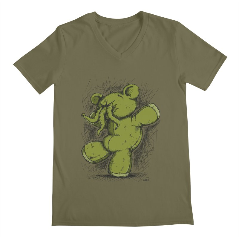 Mr Lovecraft's Teddy Bear Men's V-Neck by Illustrated Madness
