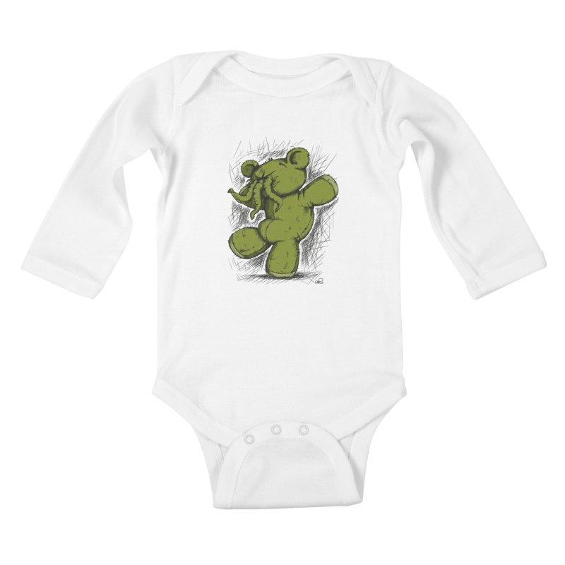 Mr Lovecraft's Teddy Bear Kids Baby Longsleeve Bodysuit by Illustrated Madness