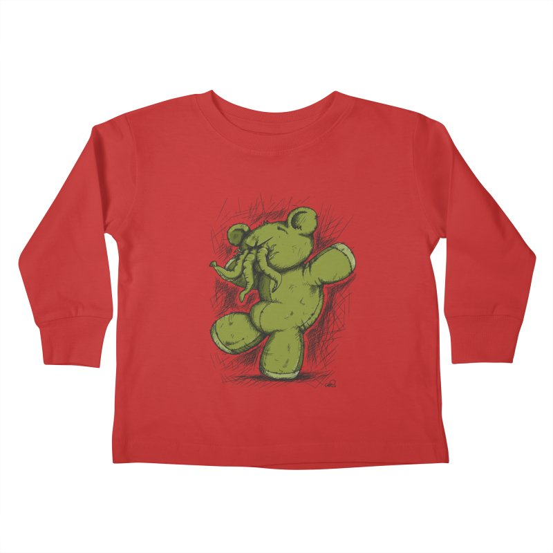 Mr Lovecraft's Teddy Bear Kids Toddler Longsleeve T-Shirt by Illustrated Madness