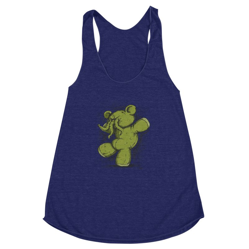 Mr Lovecraft's Teddy Bear Women's Racerback Triblend Tank by Illustrated Madness
