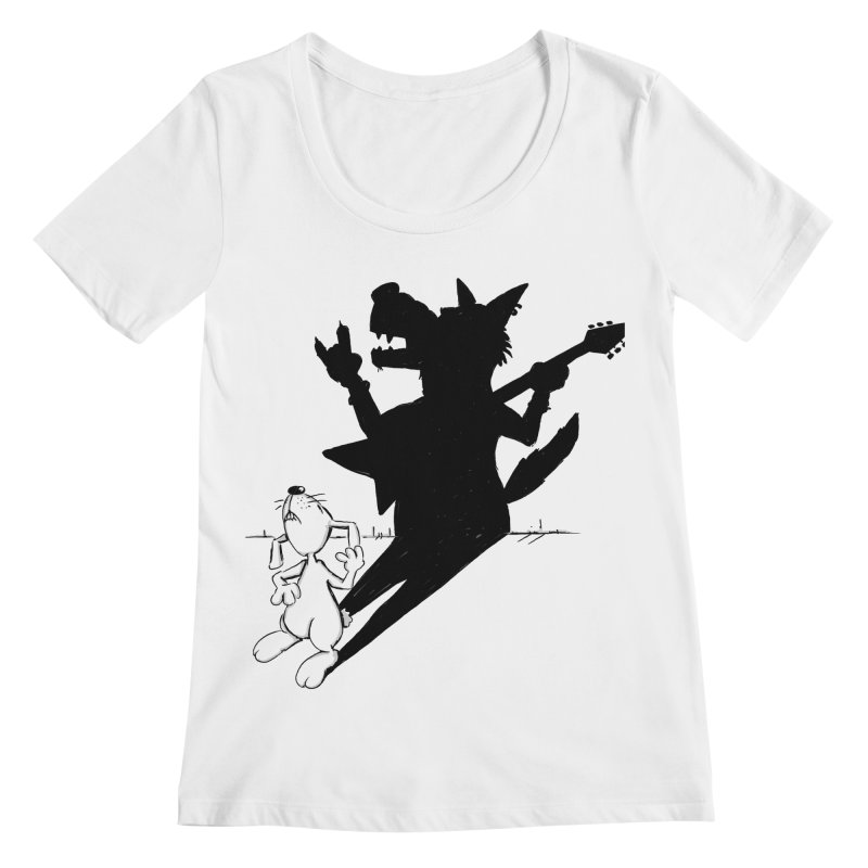 Hare Guitar Women's Regular Scoop Neck by Illustrated Madness