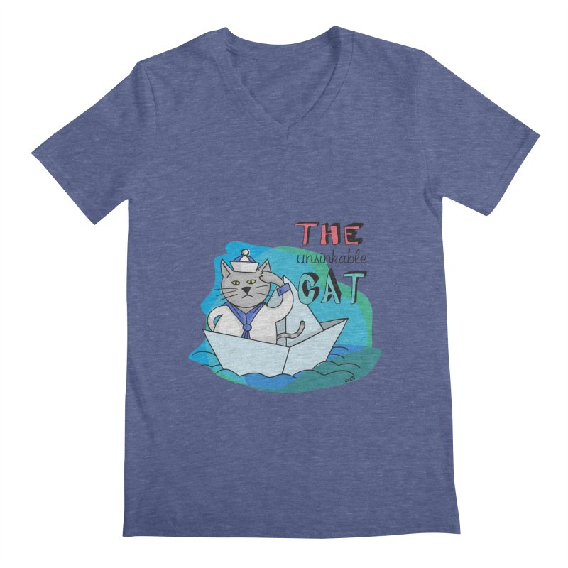 Sam, the unsinkable Cat Men's V-Neck by Illustrated Madness