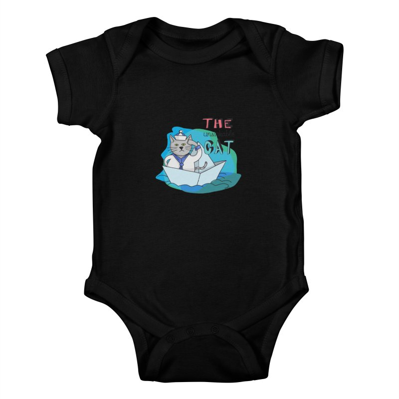 Sam, the unsinkable Cat Kids Baby Bodysuit by Illustrated Madness