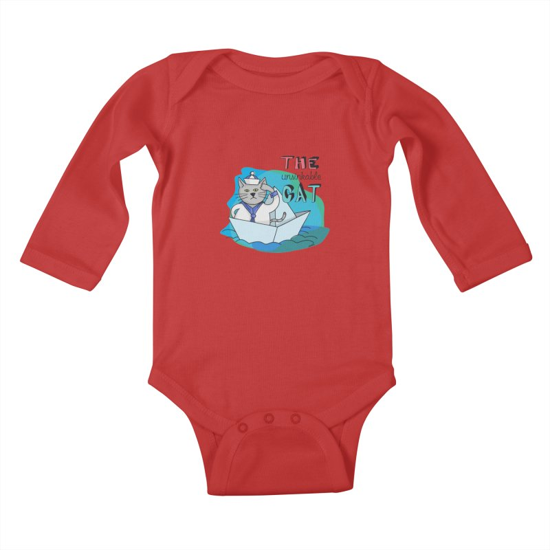Sam, the unsinkable Cat Kids Baby Longsleeve Bodysuit by Illustrated Madness