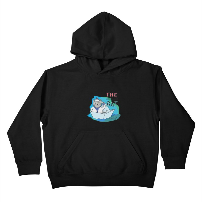 Sam, the unsinkable Cat Kids Pullover Hoody by Illustrated Madness