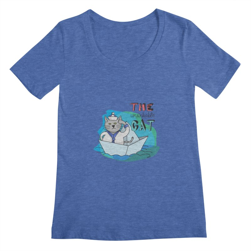 Sam, the unsinkable Cat Women's Scoopneck by Illustrated Madness