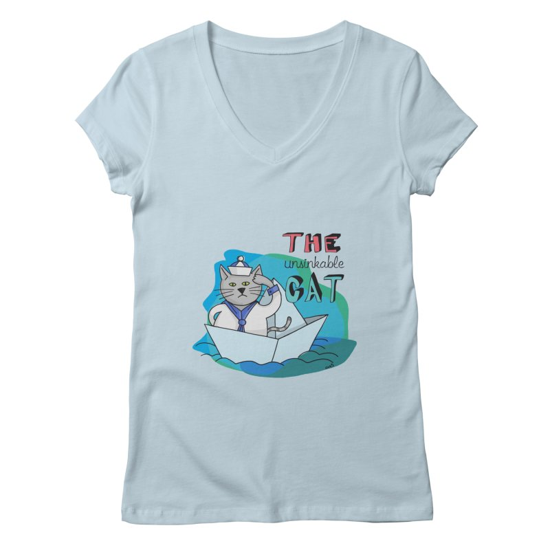 Sam, the unsinkable Cat Women's V-Neck by Illustrated Madness