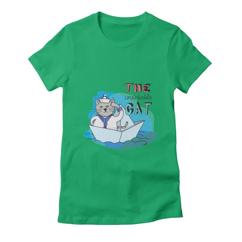 Sam, the unsinkable Cat Women's Fitted T-Shirt by Illustrated Madness