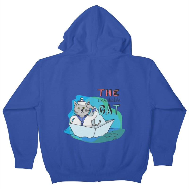 Sam, the unsinkable Cat Kids Zip-Up Hoody by Illustrated Madness