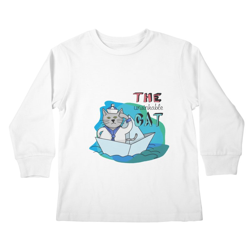 Sam, the unsinkable Cat Kids Longsleeve T-Shirt by Illustrated Madness