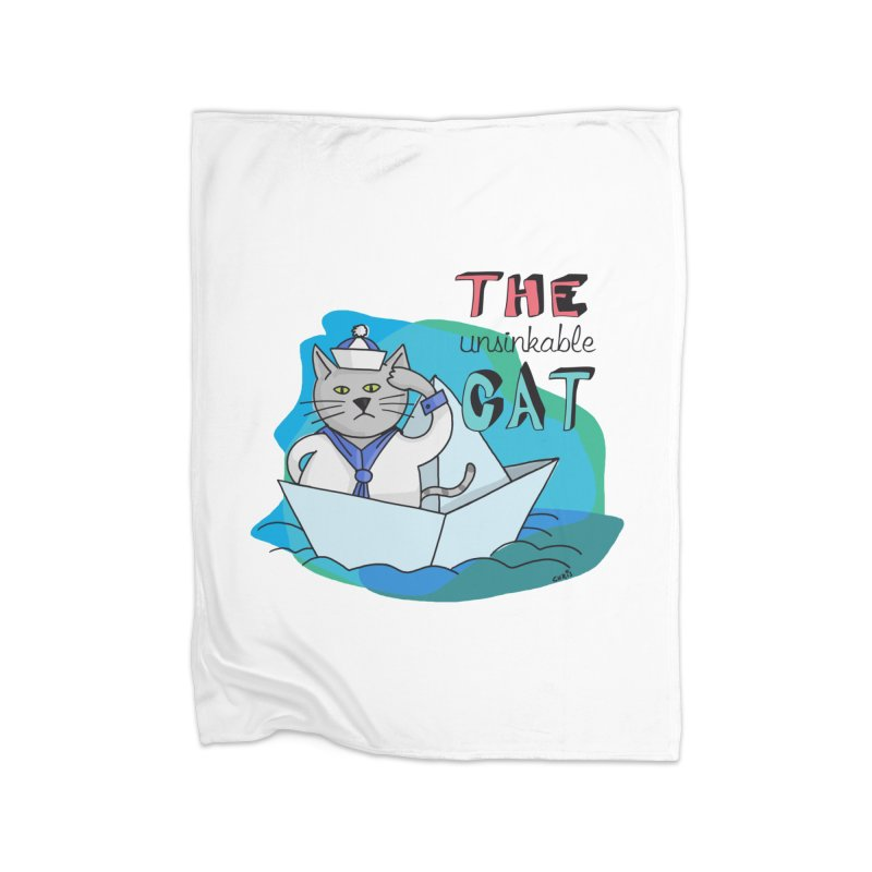Sam, the unsinkable Cat Home Blanket by Illustrated Madness