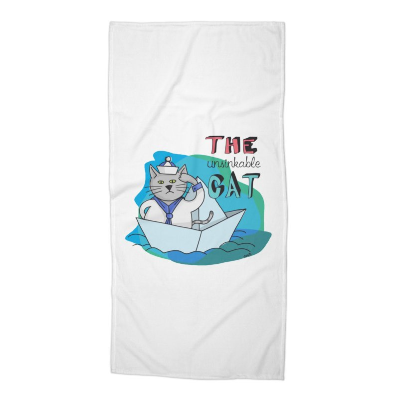 Sam, the unsinkable Cat Accessories Beach Towel by Illustrated Madness