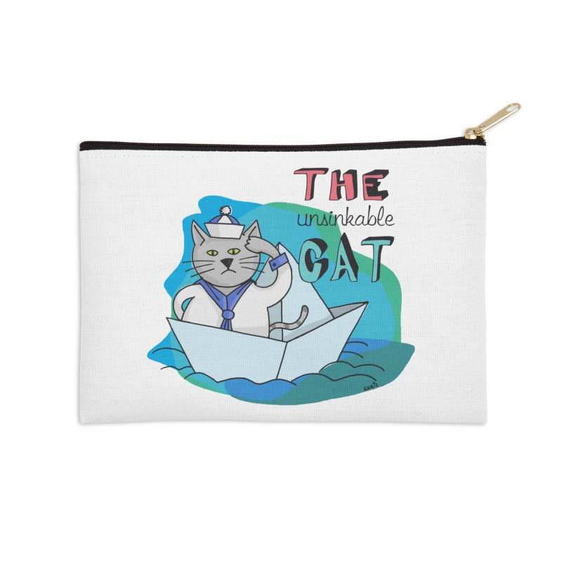 Sam, the unsinkable Cat Accessories Zip Pouch by Illustrated Madness