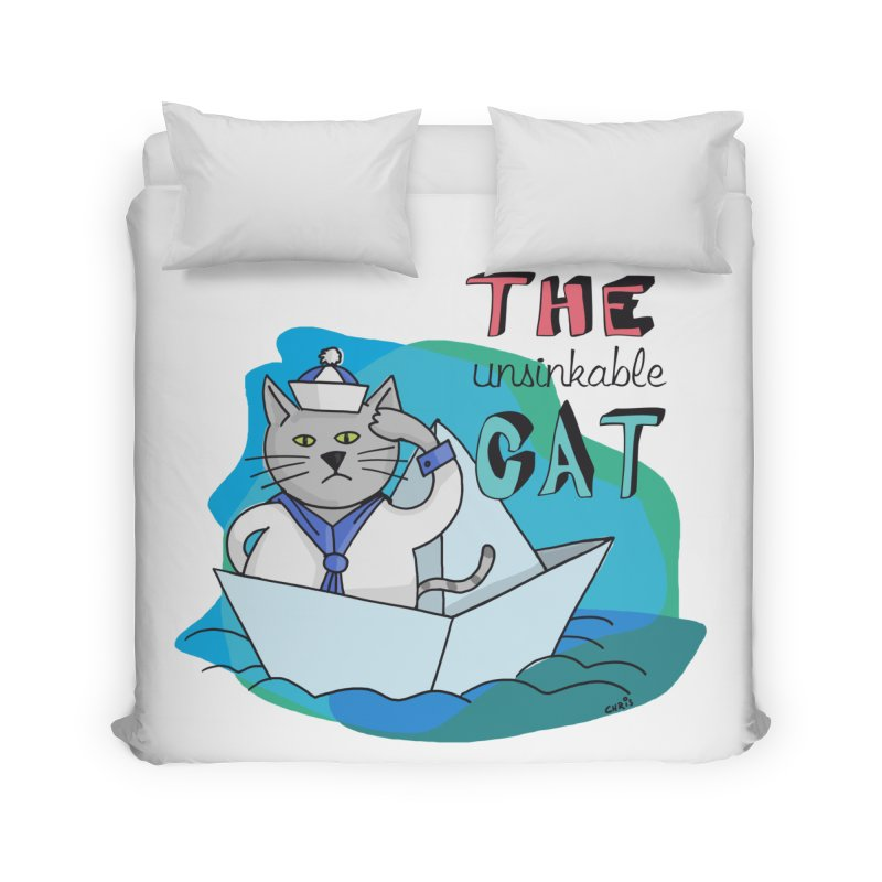 Sam, the unsinkable Cat Home Duvet by Illustrated Madness