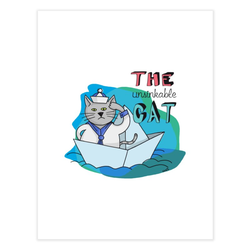 Sam, the unsinkable Cat Home Fine Art Print by Illustrated Madness