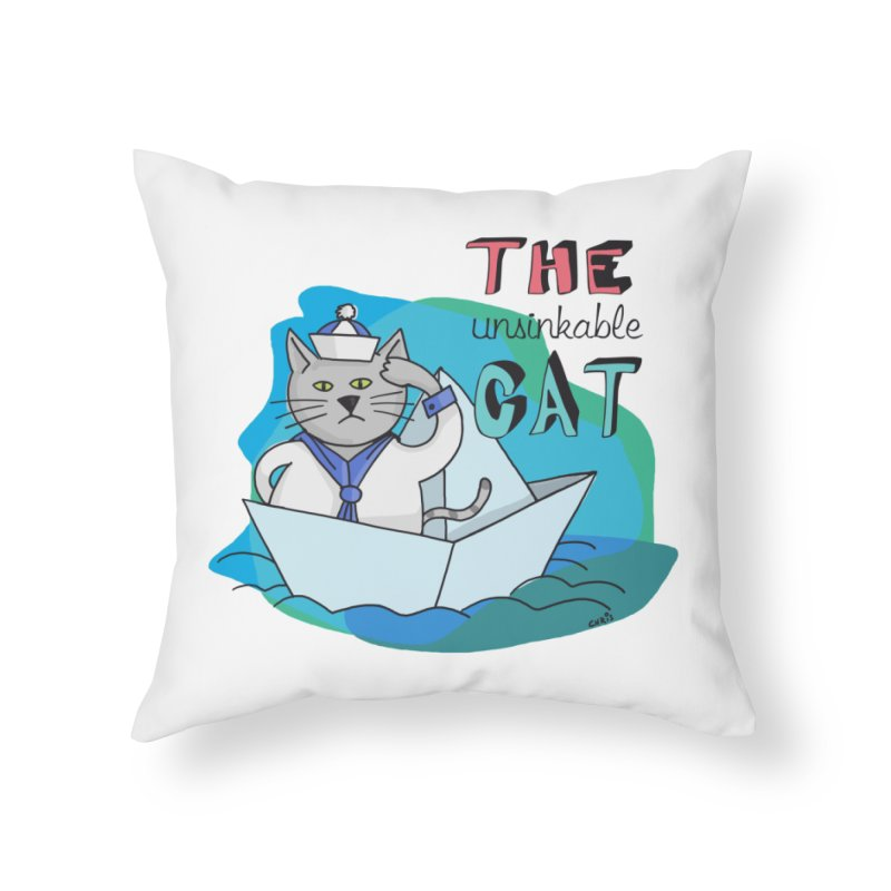 Sam, the unsinkable Cat Home Throw Pillow by Illustrated Madness