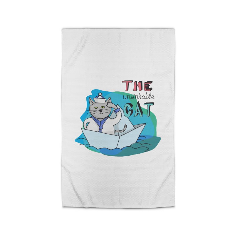 Sam, the unsinkable Cat Home Rug by Illustrated Madness