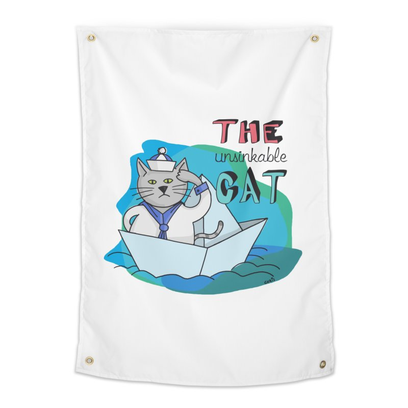 Sam, the unsinkable Cat Home Tapestry by Illustrated Madness