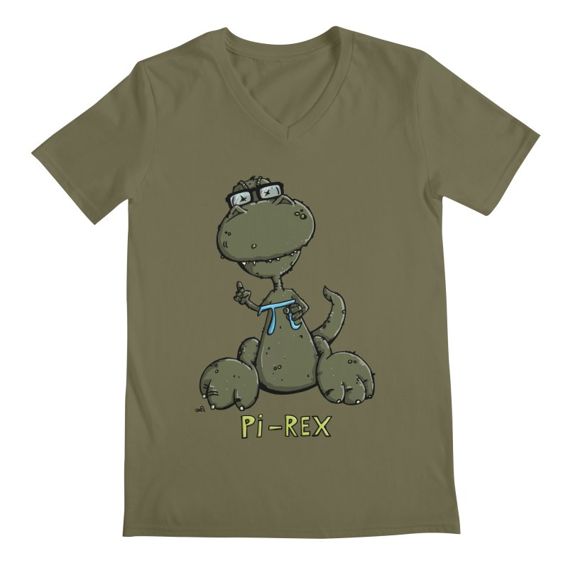 Pi-Rex Men's V-Neck by Illustrated Madness