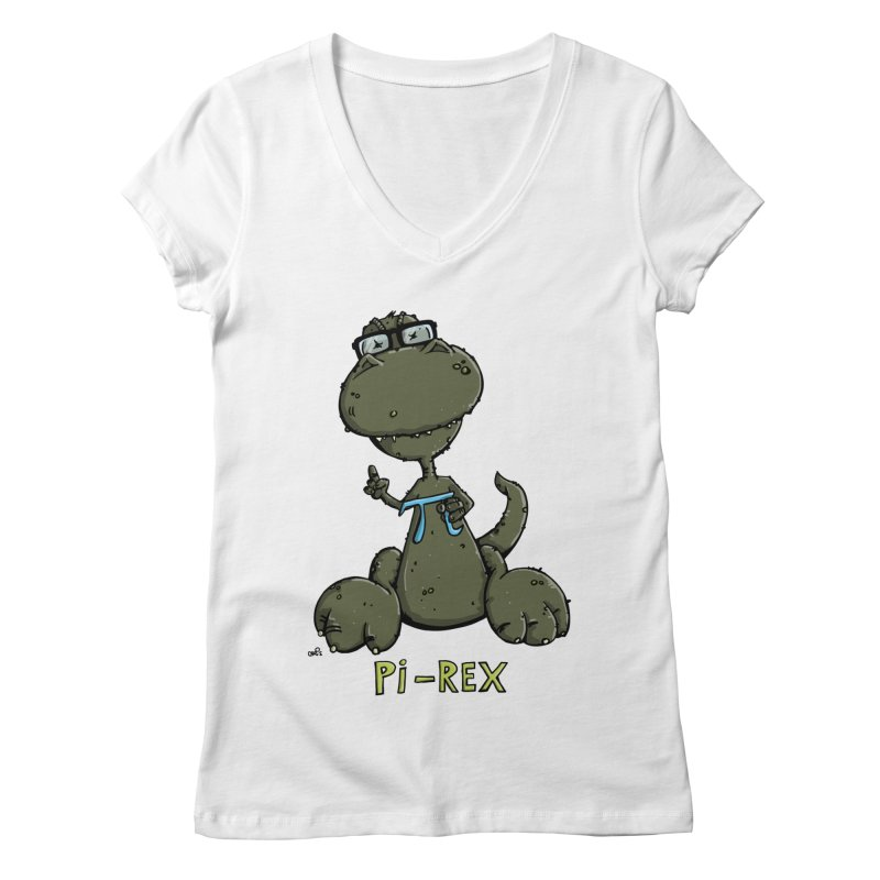 Pi-Rex Women's V-Neck by Illustrated Madness