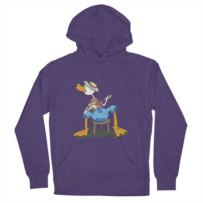 The Duck plays a cool Guitar Men's French Terry Pullover Hoody by Illustrated Madness