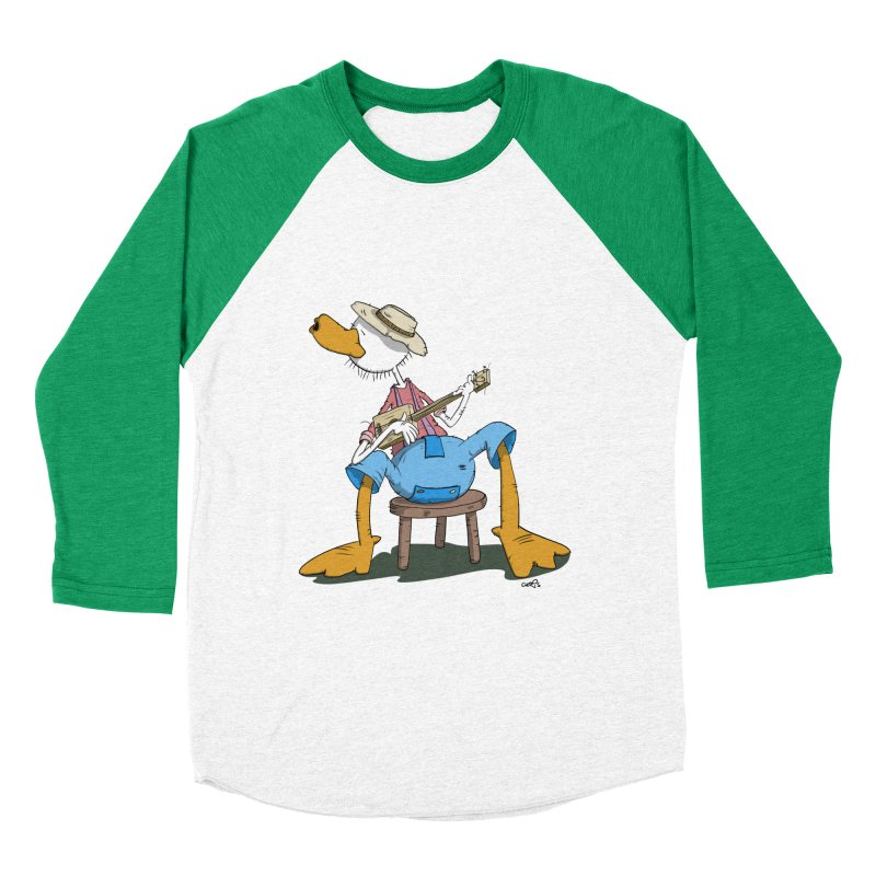 The Duck plays a cool Guitar Men's Baseball Triblend T-Shirt by Illustrated Madness