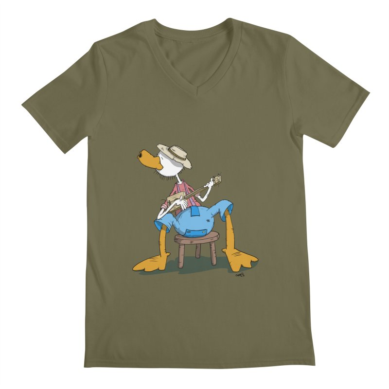 The Duck plays a cool Guitar Men's V-Neck by Illustrated Madness
