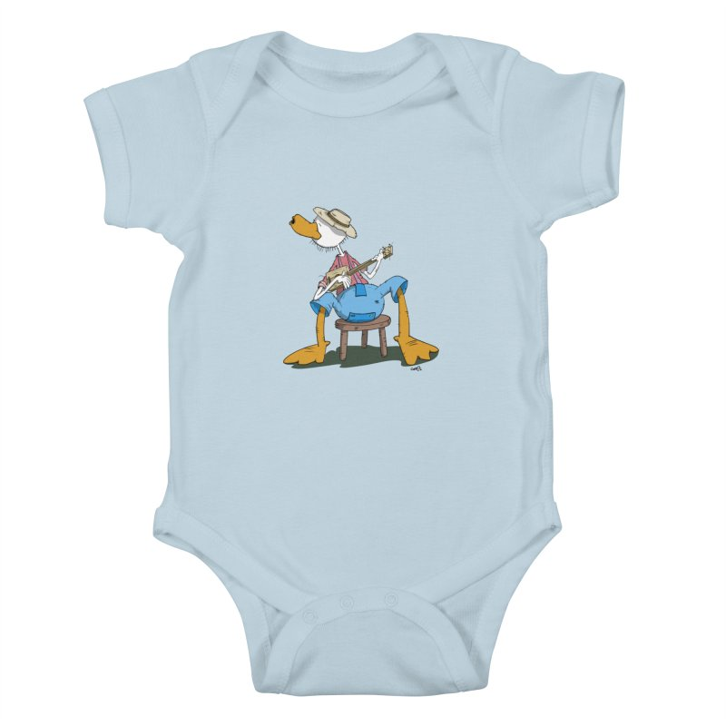The Duck plays a cool Guitar Kids Baby Bodysuit by Illustrated Madness