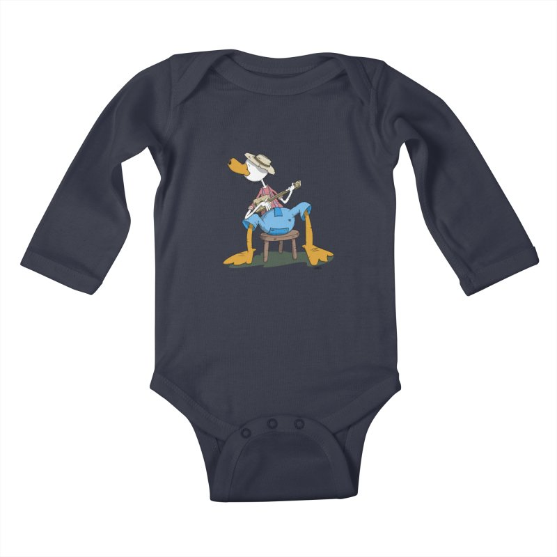 The Duck plays a cool Guitar Kids Baby Longsleeve Bodysuit by Illustrated Madness